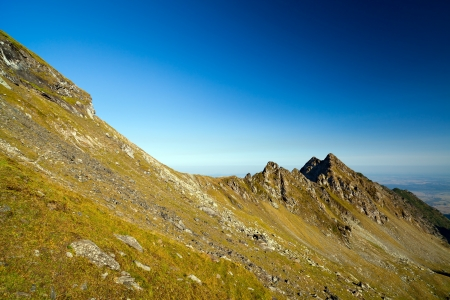 Landscape of Fagaras mountains in Romania, in a summer day