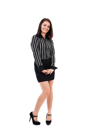 shyness: Full length portrat of a shy businesswoman isolated on white