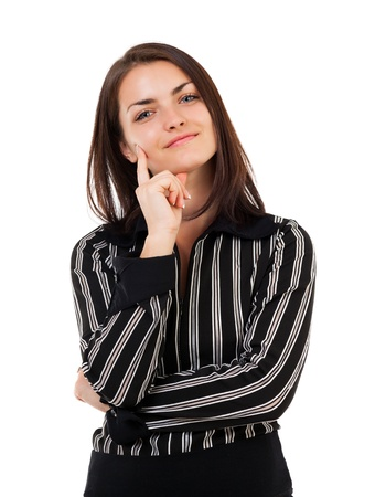 Studio closeup portrait of a young businesswoman isolated on white background photo