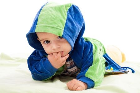 Studio portrait of a newborn caucasian boy photo