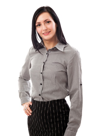 Portrait of a beautiful businesswoman standing with hand on hip isolated on white background photo