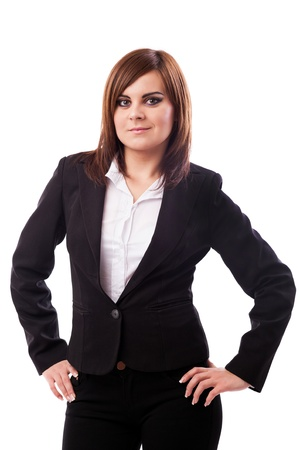 arms akimbo: Portrait of a businesswoman standing with hands on hips isolated on white background