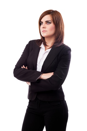 Portrait of a beautiful businesswoman standing with crossed arms isolated on white background Stock Photo - 16519550