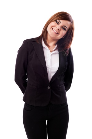 Portrait of a happy businesswoman isolated on white background Stock Photo - 16519538
