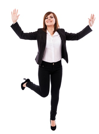 Full length portrait of a cheerful businesswoman isolated on white background Stock Photo - 16519577