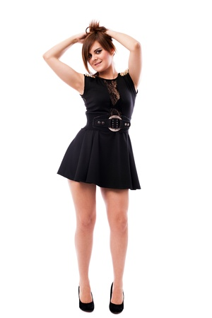 Full length portrait of a beautiful woman wearing black dress isolated on white background Stock Photo - 16519553