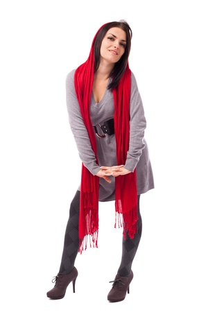 Full length portrait of a beautiful woman with long red scarf isolated on white background Stock Photo - 16519542
