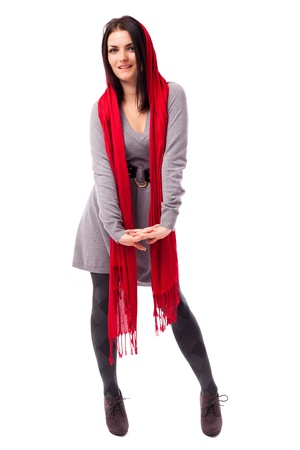 Full length portrait of a beautiful woman with long red scarf isolated on white background Stock Photo - 16519529
