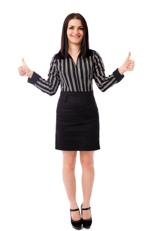 Full length portrait of a young businesswoman showing thumbs up isolated on white background Stock Photo - 16519525