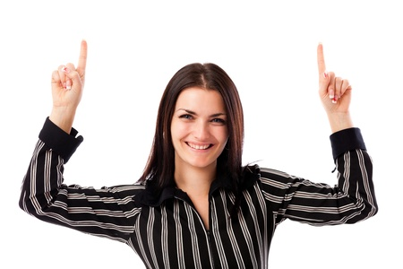 Closeup portrait of a young businesswoman pointing up at copyspace isolated on white background Stock Photo - 16663424