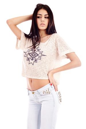 Gorgeous hispanic young woman closeup, isolated on white background Stock Photo - 16891119