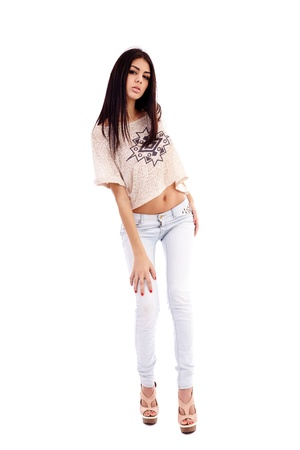 Full length portrait of a latin young woman isolated on white background Stock Photo - 16891104
