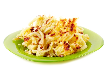 crusty: Baked crusty macaroni with cheese isolated on white background