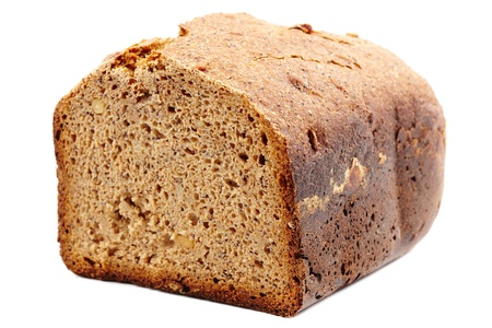 Homemade whole grain bread isolated on white background Stock Photo - 17324673