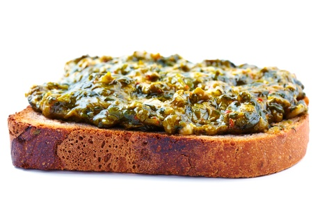 Toast with spinach on homemade bread isolated on white Stock Photo - 17324637