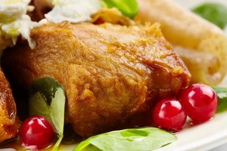 pigskin: Juicy rump pork steak with mozzarella on top and pigskin