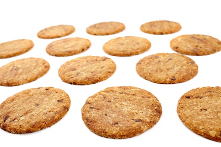 Digestive bio wholegrain biscuits with chocolate chips isolated on white background Stock Photo - 17324554