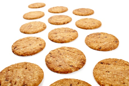 Digestive bio wholegrain biscuits with chocolate chips isolated on white background Stock Photo - 17324559