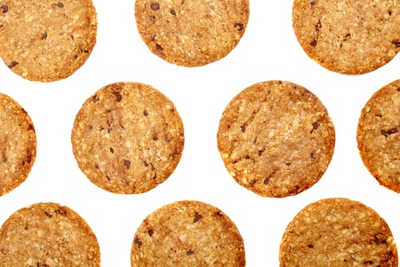 Digestive bio wholegrain biscuits with chocolate chips isolated on white background Stock Photo - 17324683