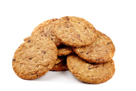 Digestive bio wholegrain biscuits with chocolate chips isolated on white background Stock Photo - 17324563