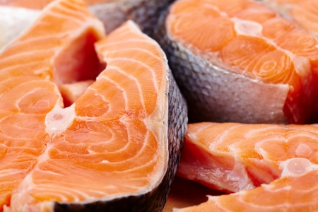 Closeup of raw red salmon slices ready to be prepared Stock Photo - 17324568
