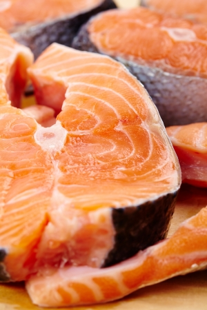 Closeup of raw red salmon slices ready to be prepared photo