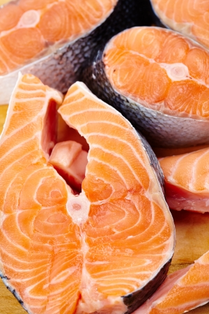 Closeup of raw red salmon slices ready to be prepared Stock Photo - 17324644