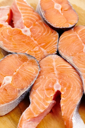 Closeup of raw red salmon slices ready to be prepared Stock Photo - 17324648
