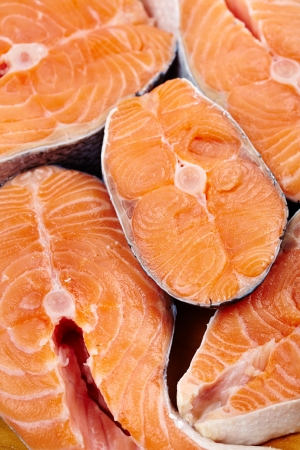Closeup of raw red salmon slices ready to be prepared Stock Photo - 17324674
