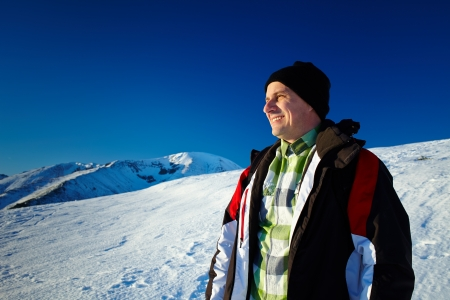 Man outdoor in the mountains, in a winter day Stock Photo - 17334656