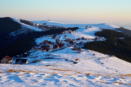 Aerial view of a ski resort in the Romanian Parang mountains Stock Photo - 17707597