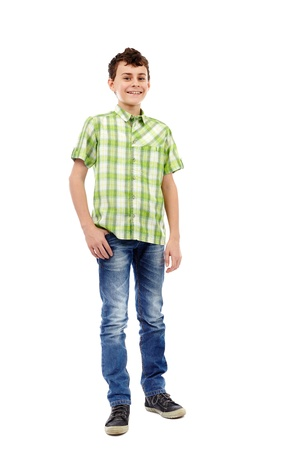 Full length studio portrait of a teen boy in green plaid shirt Stock Photo - 17605316