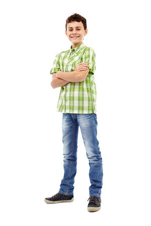 niño parado: Longitud completa retrato de un muchacho adolescente en camisa a cuadros verde Foto de archivo
