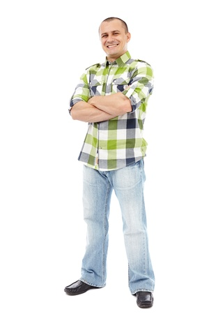 Casual man standing with his arms folded isolated on white background Stock Photo - 17605323