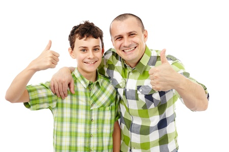 posing  agree: Father and son with thumbs up, isolated on white background Stock Photo