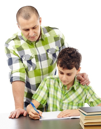 Father helping son with his homework, isolated on white