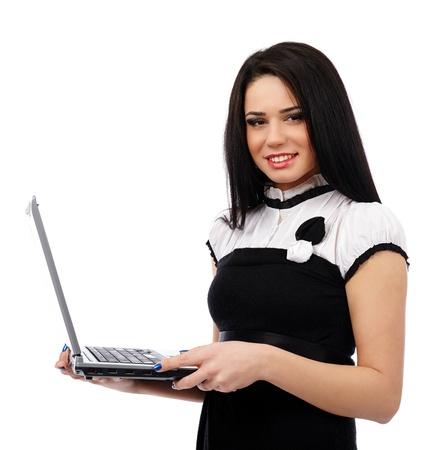 Young businesswoman or teacher holding laptop isolated on white background Stock Photo - 17605338