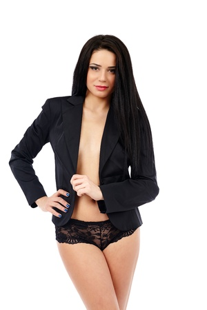Sexy businesswoman in jacket and lingerie isolated on white background photo