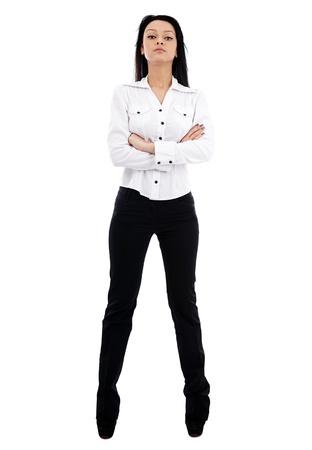 beine spreizen: Kaukasischen Geschäftsfrau in voller Länge Pose auf weißem Hintergrund. Bossy Haltung. Business-Konzept