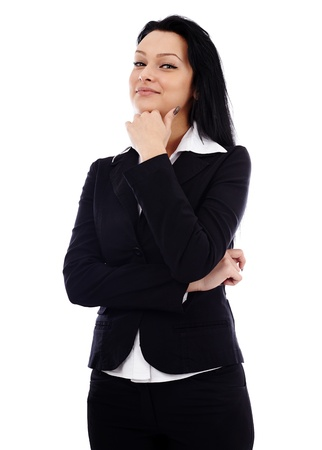 Closeup pose of pensive businesswoman, looking at camera, isolated on white background photo