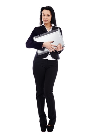 Confident businesswoman holding a laptop in her hands in full length pose isolated on white background. Business concept photo