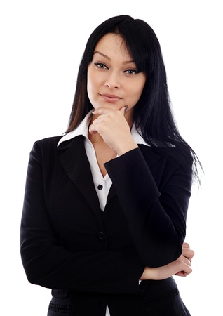 Pensive businesswoman in closeup pose, isolated on white background photo