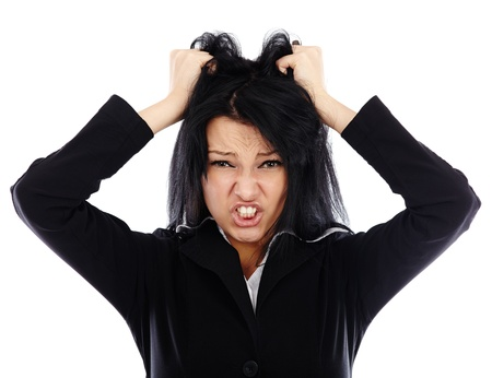 Frustrated businesswoman in closeup pose isolated on white background Stock Photo - 17893267