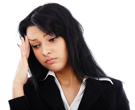Closeup portrait of stressed businesswoman having a migraine. Isolated on white background Stock Photo - 17893287