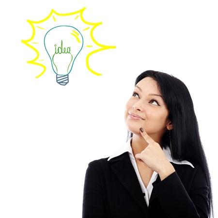 Young businesswoman having a brilliant idea, isolated on white background.Progressive idea concept photo