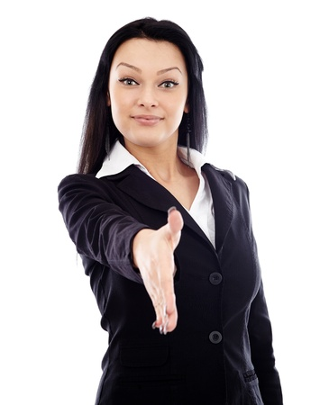 Young businesswoman about to shake hands in full length pose, isolated over white background Stock Photo - 17893260