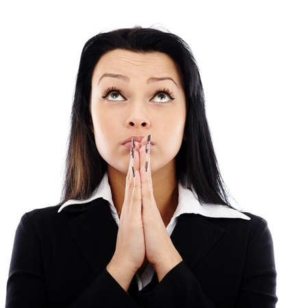 Closeup portrait of praying businesswoman looking up, isolated on white background