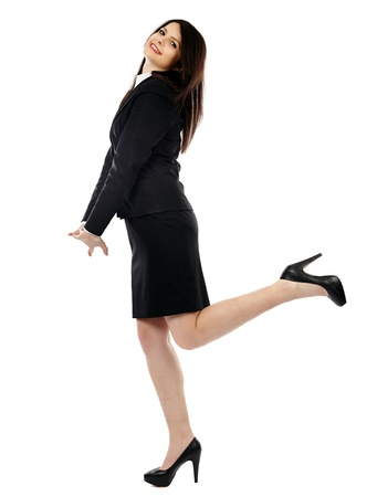 Full length pose of happy businesswoman, isolated on white background photo