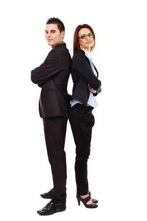 Business man and woman standing back to back isolated on white background. Teamwork concept photo