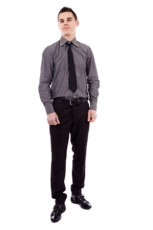Young businessman in full length pose, isolated on white background Stock Photo - 18159196